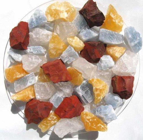 Edelsteinmischung 1 kg, Rohsteine roter Jaspis, Bergkristall, Orangencalcit und blauer Calcit