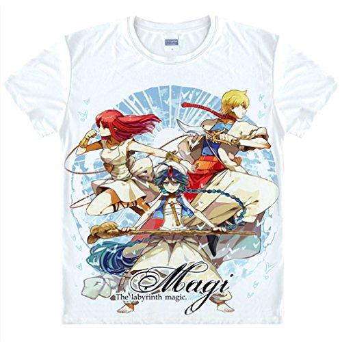 Kostüm Magi Magic The Labyrinth Cosplay Of - Bromeo Magi The Labyrinth of Magic Anime Kostüm Short Sleeves Kurze Ärmel Tee T-Shirt