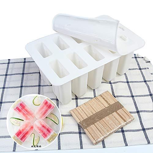 10 STÜCKE Eis Am Stiel Formen Einstellen, Eiscreme-Hersteller, Nahrungsmittelgrad-Silikon-Eis Am Stiel-Form, Wiederverwendbar, Maker Fun Für Kinder Und Erwachsene Küchenbedarf,White