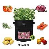 Laxllent Sacs de Plantation de Jardin,2PCS 9 Gallons Sac de Legumes, Tissu Non-tissé Sac de Plantation de Pommes de Terre à Fenêtre Velcro (2, Noir)
