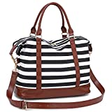 Travel Tote Bags for Women - Lightweight Carry-on Shoulder Gym Tote Bag Waterproof Overnight Weekend Travel Duffle Bags with PU Leather Strap and Back Trolley Sleeve for Ladies