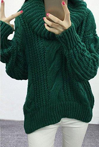Decontracte Femmes Manches Longues Pull Tricote Lache Pull Manteaux Hauts Manteau Vert