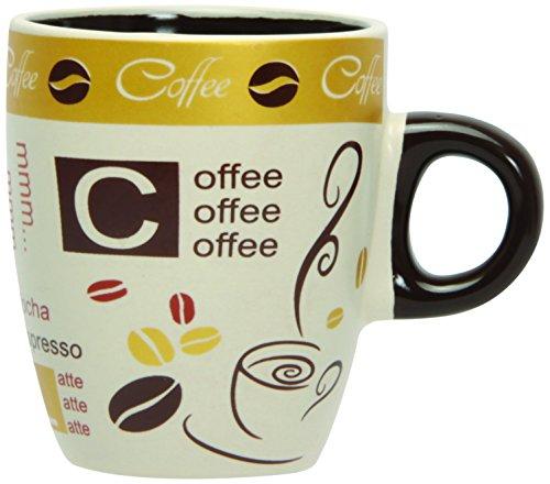 Novastyl 7150006 juego de 6 tazas de café de porcelana Golden Beige 10 ml