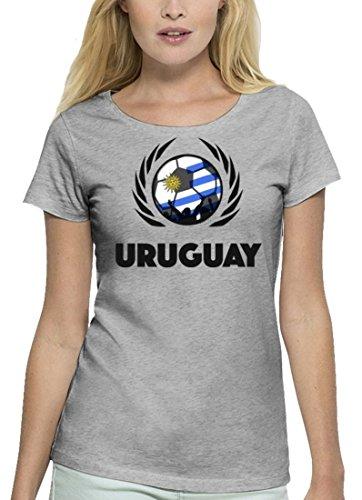 ShirtStreet Wappen Fussball WM Premium Fanfest Damen T-Shirt Bio Baumwolle Stanley Stella Fußball Uruguay Heather Grey