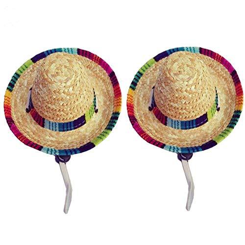 (Wankd Dog Sombrero Hut, Mini Straw Sombrero Hüte Mexikanische Hüte Sombrero Party Hüte Hunde Sonnenhut für Hunde und Katzen Funny Dog Costume Kleine Haustiere Welpen Katze (2PCS, Elastisch))