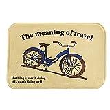 iLove EU Fußmatte, Sauberlaufmatte, Türmatte, Fußabtreter, Fußabstreifer Korallen Samt 40cm x 60cm - Vintage Cartoon Fahrrad The Meaning of Travel (Gelb)