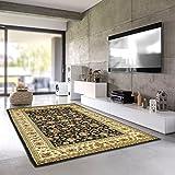 Teporio Orient-Teppich Marrakesh | Stilvoll Orientalisch Fürs Wohnzimmer, Schlafzimmer, Kinderzimmer | Schadstoffgeprüft, Allergikergeeignet (Schwarz, 300 x 400 cm)