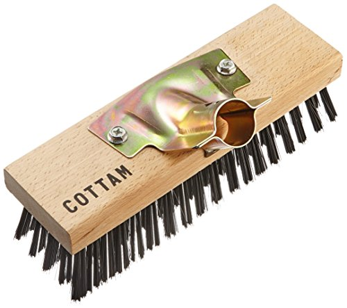 "COTTAM IWI00055 Heavy Duty Steel Wire Broom Head 9"" with Wooden Back & Zinc Plated Socket. Hard Sweeping & Deck Scrub for Decking, Paving, Patio, Paths, Drives etc, Wood"