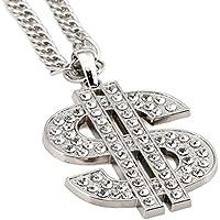 nyuk classica da uomo Dollor hip-hop strass oro/argento catena collana con ciondolo