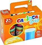 CARIOCA FINGER PAINT | KO032 - Set di Tempere a Dita Superlavabili per Bambini di 24 mesi, 6 barattoli 80 ml
