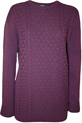 WearAll - Übergröße Damen langes Hülsen Strickjacke Plain Top Damen Strickpullover - 5 Farben - Größen 44-52 Violett