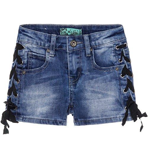 BEZLIT Mädchen Kinder Jeans Shorts Used Schnürung Seitlich Hot Pants Kurze Hose 22591 Größe 128 Herstellergröße 8