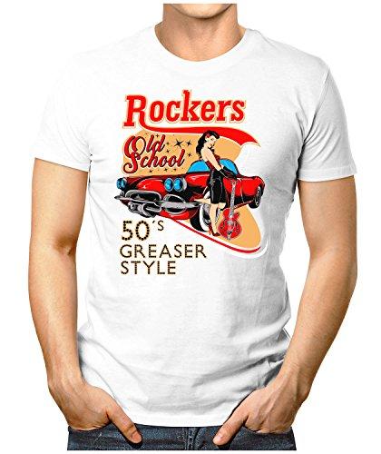 PRILANO Herren Fun T-Shirt - ROCKERS-OLD-SCHOOL - Small bis 5XL - NEU Weiß