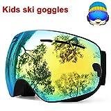 TUONROAD Occhiali da Sci Bambino Occhiali da Snowboard Doppia Lente Anti-UV Anti-Fog Protezione del Lago Verde UV400 Occhiali da Neve Occhiali da Sci per Adolescenti Ragazzi (4-15 Anni)