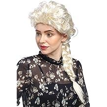 WIG ME UP ® - 051-P613 Peluca señora Carnaval cosplay barroco Cosplay rubio platino larga trenza, trenzado, Princesa 65 cm