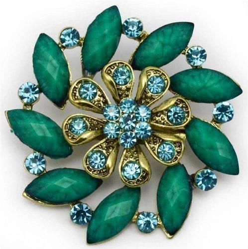 Broche Dorado Antiguo Grande Flor Color Vintage Moderno Con Cristales