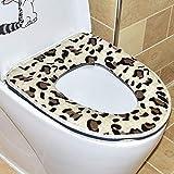 WEILIVE Imprimé léopard épaissir Housse pour abattant de WC Toilette Lavable Coussin, Flanelle, Jaune, 37x43cm