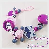 Schnullerkette 3D Waschbär mit Namen, Baumler, 2 Ringe, babyrosa, purpur und grau