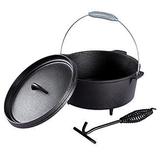 Voilamart Dutch Oven,Feuertopf Do 4,5 Dutch-Oven aus Gusseisen 4,3 Liter Kochtopf Topf Gusstopf Bräter Outdoor mit Deckelheber Füßen