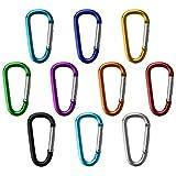 BB Sport Mosquetón Aluminio Fun 10 Piezas en Varios Colores para Camping, Senderismo, Pesca, Color Multicolor