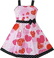 AV23 Girls Pink Heart Print Bow Tie Party Sundress Kids Clothes Sz 7-8