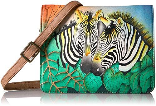 Anna by Anuschka Damen Umhängetasche, Handtasche, Zebra Safari, Einheitsgröße - Zebra Hobo Handtasche