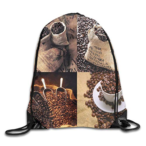 EELKKO Drawstring Backpack Gym Bags Storage Backpack, Rustic Collage of Images Showing Different Kinds of Roasted Grains,Deluxe Bundle Backpack Outdoor Sports Portable Daypack -