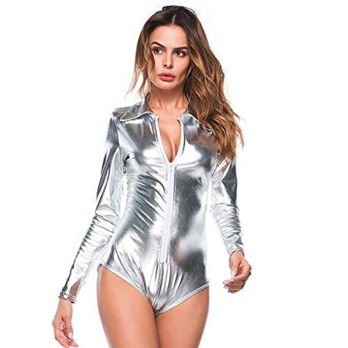 Sexy lingerie, meibax donne sexy v neck clubwear artificiale in pelle siamese cerniera intimo body (argento, m)