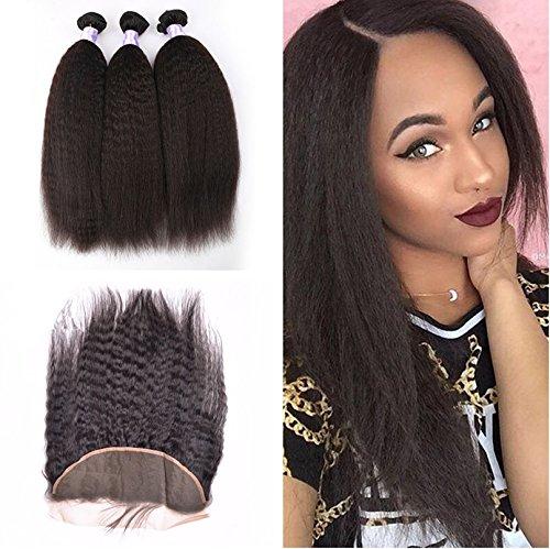 PERUVIANO capelli umani Weave con pizzo frontale chiusura Yaki dritto capelli umani con pizzo frontale (Di Yaki Dei Capelli Umani Weave)