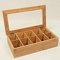 MERVY - Boîte à thé - Boîte multifonction - Boîte de rangement loirsirs créatifs - en bambou 10 compartiments 36x20x9cm