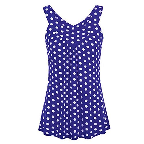 CUTUDE Damen T Shirt, Bluse Kurzarm Sommer Frauen Halter V-Ausschnitt Ärmellos Tupfen Gedruckte Weste Oberteil Top (Blau, Large)