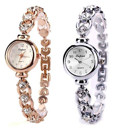LVPAI Vente Chaude De Mode De Luxe Femmes Montres Femmes Armband Montre Uhr Diamant Armbanduhr Damen Elegant Klassisch Beiläufig Armbanduhren (Silber)