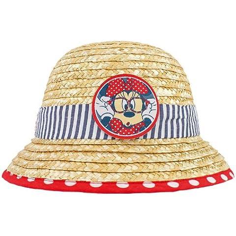 MINNIE MOUSE Sombrero de mimbre paja y tela (rojo / azul)
