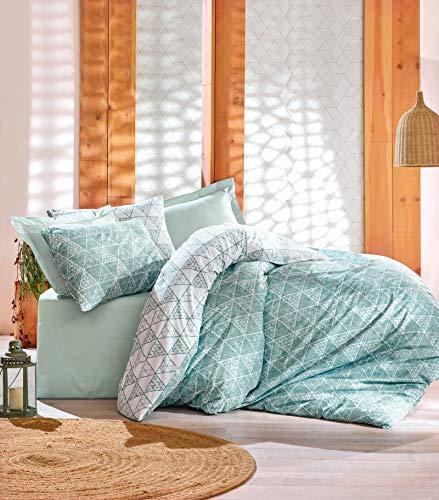 DecoMood Bettwäsche-Set, 100% Baumwolle, Geometrisches Muster, Doppelbettgröße, wendbar, Mintweiß Full/Queen Mint White (Duvet Mint Cover Queen)