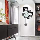 Longxs 20 Pollici Creativo personalità Orologio da Parete Muto Semplice Moda Arte Soggiorno Camera da Letto Decorazione della casa Orologio da Parete al Quarzo Nero di Grandi Dimensioni (50 * 80 cm)