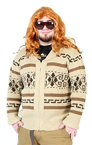 The Big Lebowski Jeffery The Dude Zip Up Kostüm Cardigan Sweater (Big Kostüme Lebowski Dude The)