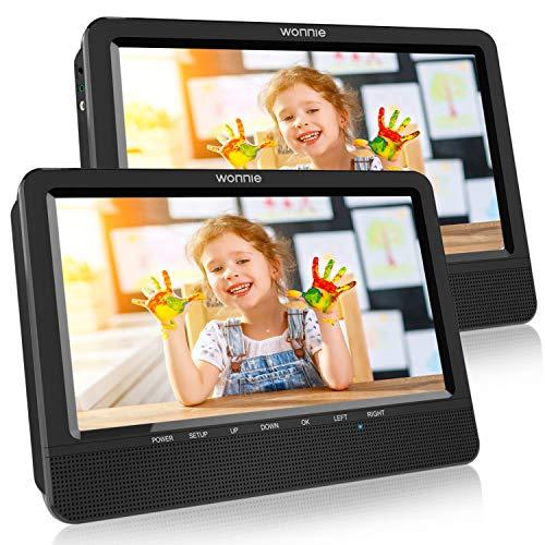 """WONNIE 2020 Modelle 10. 5\"""" DVD Player Auto 2 Bildschirme Tragbare DVD Player 4 Stunden Spielzeit mal 1024 * 600 HD Kopfstütze Fernseher, Unterstützung für USB/SD, AV IN/Out"""