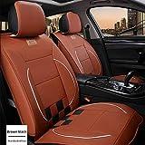Muchkey 5-Sitze Alle Jahreszeiten Leder Auto Sitzbezügesets Autositzauflage wasserdicht für Audi S3 S5 S6 S7 S8 Q2 Q3 Q5 Q7 Zubehör für Autositze Stil C Braun schwarz