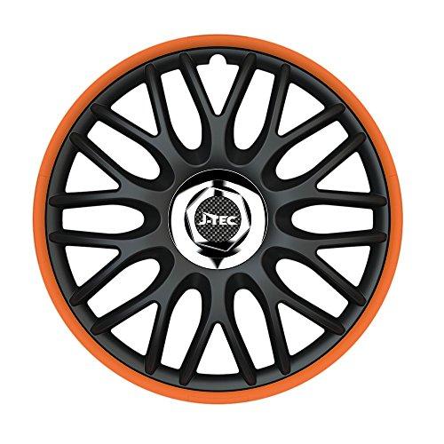 4X Radzierblenden 16 Zoll Orden Orange R (Schwarz/Orange) passend für z.B. FIAT für FIAT 124 Spider