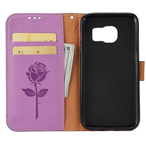 Dual Color Matching Premium PU Leder Flip Stand Case Cover mit Card Cash Slots und Lanyard für Samsung Galaxy S6 ( Color : Red ) Purple