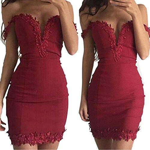 ekleidung Longra Damen Mode Sommer schlanke V-Ausschnitt Kleid engen Paket  Hip trägerlosen Bandage Spitzenkleider ...
