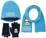 FABTASTICS Jungen Schal+Mütze+Handschuhe Star Wars, Blau (Malibu Blue), One Size (Herstellergröße: One Size)