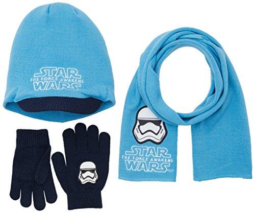 FABTASTICS Jungen Schal+Mütze+Handschuhe STAR WARS, Blau (Malibu Blue), One Size (Herstellergröße: one size) (Star Wars Handschuhe)