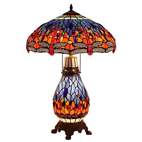 Bieye L30545 26 pouces Libellule Lampe de table en verre teinté de Tiffany style