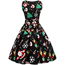 42128a7a485 LuckyGirls Weihnachtskleid Damen Plus Size Kleid Druck Spitze Pin Up Swing  Lace Party Panel Vintage Xmas