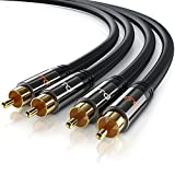 3m 2 x Cinch zu 2 x Cinch Kabel - Aux Eingänge Audio 2 x Cinch RCA Stecker zu 2 x Cinch RCA Stecker - Metall Stecker vergoldet doppelte Schirmung