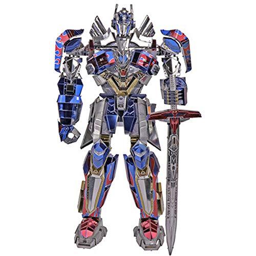 MQKZ Puzzle 3D Optimus Prime Jouet de déformation 5 King Kong véritable Leader en Alliage Version Voiture Assemblage Robot modèle créatif Cadeau Rouge + Outil A + B One Size