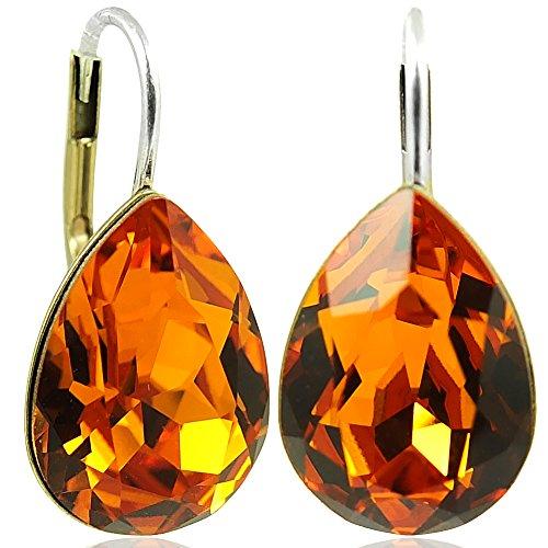 Ohrringe mit Kristallen von Swarovski® Orange Gold Tropfen NOBEL SCHMUCK