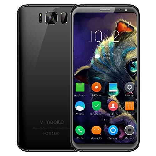 Telefono Movil,V Mobile S8 5.8 Pouce 16GB ROM 8MP+5MP Cámara Doble SIM 2800mAh Batterie Android 7.0 WIFI GPS Bluetooth 4G Smartphone Baratos Libres (Negro)