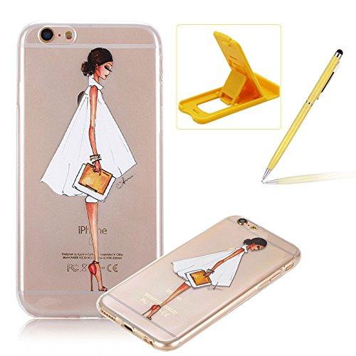 Per iPhone 6 Plus/ 6S Plus Custodia morbido,Herzzer Mode Crystal Creativo Elegante Fenicottero Quadro Dipinto Design trasparente case cover,Protettivo Skin in Liscio Smooth Toccare Unico Molto sottile Animato signora